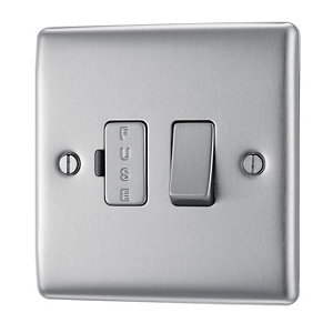 Image of British General 13A Brushed Steel effect Switched Fused connection unit