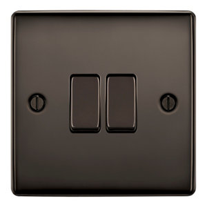 Image of British General 10A 2 way Polished black nickel effect Double Light Switch