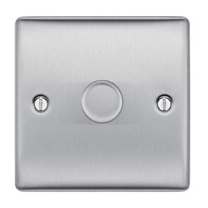 Image of British General 2 way Single Steel effect Dimmer switch