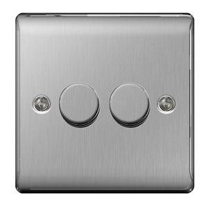 Image of British General 2 way Double Steel effect Dimmer switch