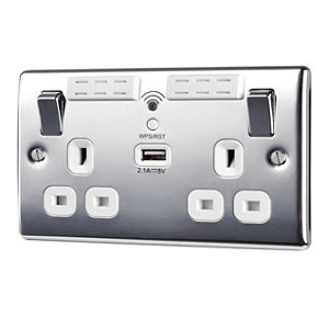 Image of British General 13A Chrome effect Metal Double Socket with USB
