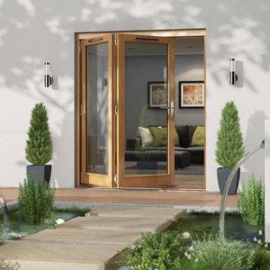 Image of Jeld-Wen Canberra Clear Glazed Golden Oak LH External Folding Patio Door set (H)2094mm (W)1794mm