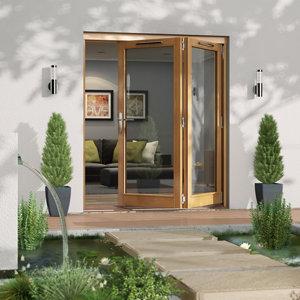 Image of Jeld-Wen Canberra Clear Glazed Golden Oak RH External Folding Patio Door set (H)2094mm (W)1794mm