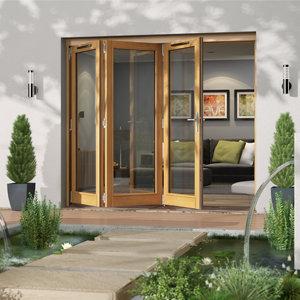 Image of Jeld-Wen Canberra Clear Glazed Golden Oak LH External Folding Patio Door set (H)2094mm (W)2394mm
