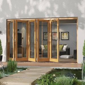 Image of Jeld-Wen Canberra Clear Glazed Golden Oak LH External Folding Patio Door set (H)2094mm (W)3594mm