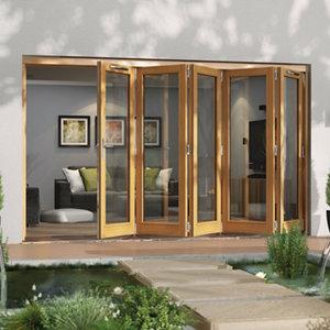 Image of Jeld-Wen Canberra Clear Glazed Golden Oak RH External Folding Patio Door set (H)2094mm (W)3594mm
