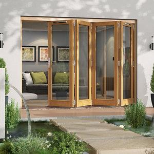 Image of Jeld-Wen Canberra Clear Glazed Golden Oak RH External Folding Patio Door set (H)2094mm (W)2994mm
