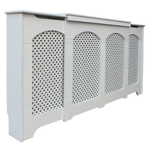 Image of Cambridge Medium - large White Traditional Adjustable Radiator cover