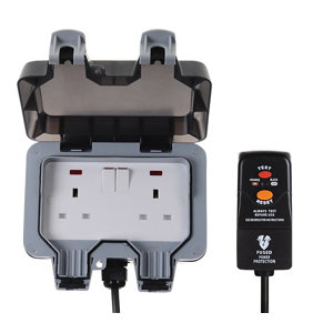 Image of Diall 13A Grey Outdoor Switched Socket & prewired plug