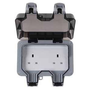Image of Diall 13A Grey Double Outdoor Unswitched Socket