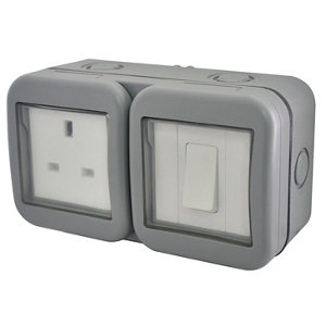 Image of Diall 13A Grey Double Outdoor Switched Socket & 2 way single switch