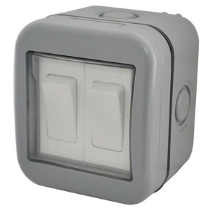 Image of Diall 10A 2 way Grey Double outdoor Switch