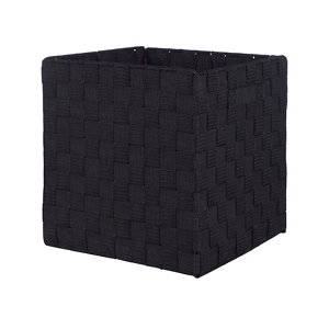 Image of Black Non-woven fabric & polyester (PES) Storage basket (H)310mm (W)310mm