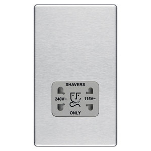 Image of Colours Flat Screwless Silver Steel effect Brushed Dual Shaver socket