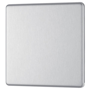Image of Colours Brushed steel effect Single Blanking plate