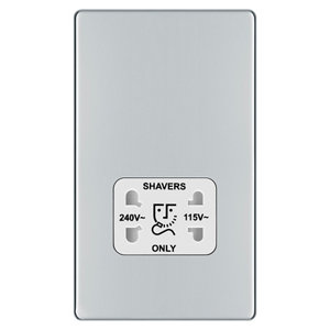 Image of Colours Flat Screwless Silver Chrome effect Polished Dual Shaver socket