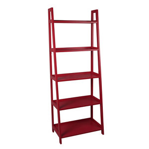 Image of Form Radius Red 5 Shelf Bookcase (H)1735mm (W)400mm