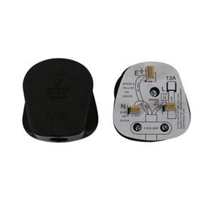 Image of B&Q 13A Black Plug