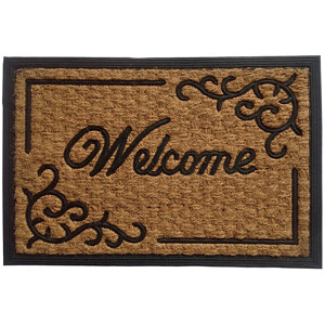Image of Black & natural Coir & rubber Door mat (L)0.4m (W)0.4m