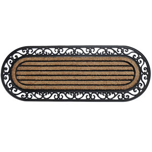 Image of Black & natural Coir & rubber Door mat (L)0.45m (W)0.45m