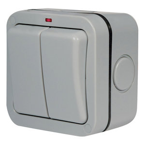 Image of Diall 20A Grey Double Outdoor Switch