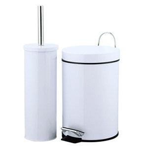 Image of Carla White Pedal bin & toilet brush