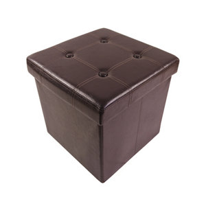 Image of B&Q Brown leather effect Ottoman (H)375mm (W)375mm (D)380mm