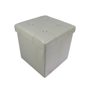 Image of B&Q Cream leather effect Ottoman (H)375mm (W)375mm (D)380mm