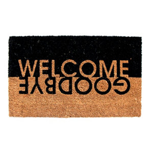 Image of Colours Edra Welcome Goodbye Black & white Coir Door mat (L)0.75m (W)0.45m