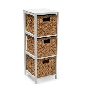 Image of Form Baya Brown & white 3 Shelf Tower unit (H)850mm (W)310mm (D)310mm