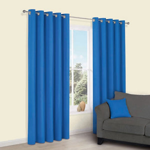 Colours Zen Blue Plain Unlined Eyelet Curtains (W)228cm (L)228cm  Pair