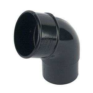 Image of FloPlast Black Round 112.5° Offset Downpipe bend (Dia)68mm