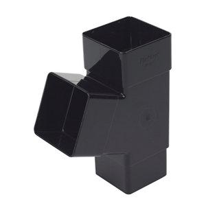 Image of FloPlast Black Square 67.5° Gutter branch (Dia)65mm