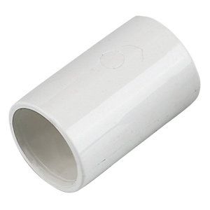 FloPlast White Solvent weld Straight Waste pipe Coupler (Dia)21.5mm  Pack of 3