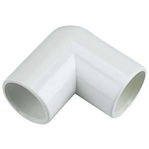 FloPlast White Solvent weld 90° Waste pipe Overflow bend (Dia)21.5mm  Pack of 3