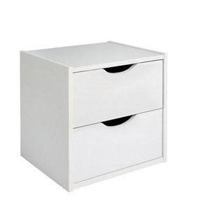 Hartnett Matt soft white 2 Drawer Bedside chest (H)435mm (W)450mm (D)388mm