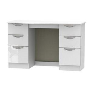 Chelsea Gloss white 6 Drawer Desk (H)795mm (W)1275mm (D)415mm
