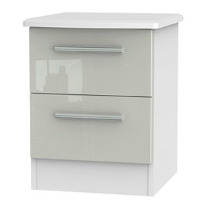Image of Azzurro Gloss grey & white 2 Drawer Narrow Bedside chest (H)570mm (W)450mm (D)395mm