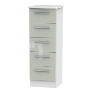 Image of Azzurro High gloss grey & white 5 Drawer Tall Chest (H)1075mm (W)395mm (D)415mm