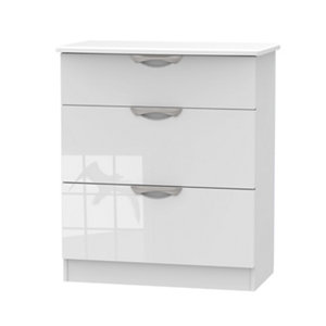 Image of Chelsea Gloss white 3 Drawer Deep Chest (H)885mm (W)765mm (D)415mm