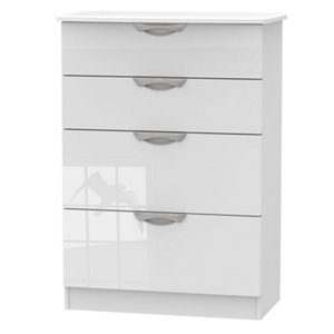 Image of Chelsea Gloss white 4 Drawer Deep Chest (H)1075mm (W)765mm (D)415mm