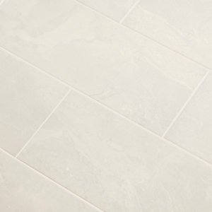 Image of Castles Mist Gloss Plain Marble effect Ceramic Wall tile Pack of 14 (L)500mm (W)200mm