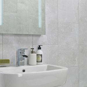 Image of Arlington Light Grey Matt Stone effect Porcelain Floor tile Pack of 6 (L)300mm (W)600mm