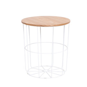 Image of Kleca Ash veneer & white Side table (H)45cm (W)40.5cm (D)40.5cm