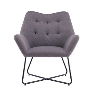Image of Turio Stone grey Linen effect Chair (H)865mm (W)750mm (D)800mm