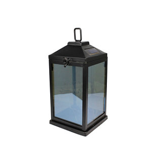 Image of Black Solar-powered Integrated LED Outdoor Lantern