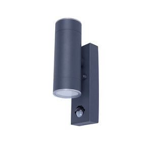 Image of Blooma Candiac Adjustable Matt Charcoal grey Mains-powered LED Outdoor Wall light 760lm (Dia)6cm