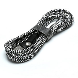 Image of Blyss USB A- Lightning Charging cable 1.5m Black & silver