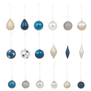 Image of Art deco Assorted Multicolour Bauble Pack of 40