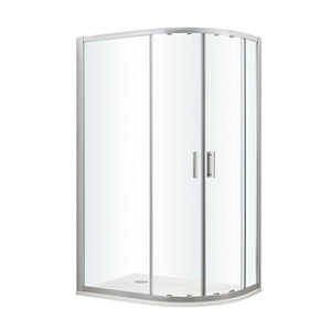 GoodHome Beloya Left-handed Offset quadrant Clear Shower Enclosure & tray with Corner entry double sliding door (W)1000m